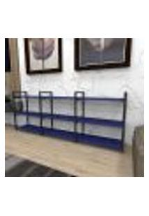 Estante Industrial Aço Cor Preto 180X30X68Cm (C)X(L)X(A) Cor Mdf Azul Modelo Ind35Azest