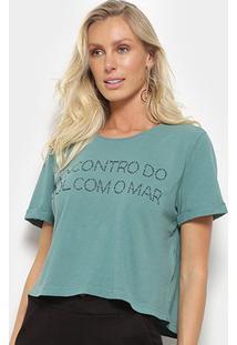 Blusa Cropped Maria Filó Sol E Mar Feminina - Feminino-Verde