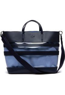 Bolsa Em Couro Lacoste Azul.