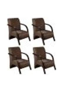 Conjunto De 4 Poltronas Sevilha Decorativa Braço De Madeira Cadeira Para Recepção, Sala Estar Tv Espera, Escritório, Vários Ambientes - Veludo Marrom