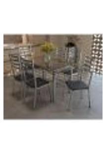 Conjunto Mesa Retangular De Vidro E 6 Cadeiras Kappesberg Cromado/Preto