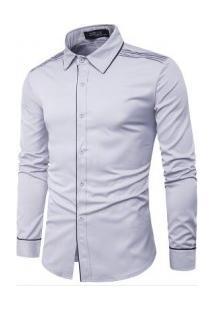 Camisa Masculina Slim Com Detalhes Nos Ombros Manga Longa - Cinza