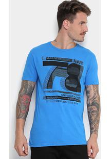 Camiseta Calvin Klein Estampada Masculina - Masculino-Azul Royal