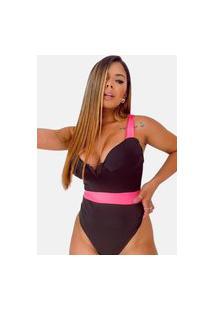 Body Maiô Summer Body Decote Aro Preto