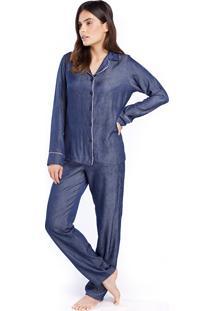 Pijama Feminino Aberto De Inverno Azul Jeans