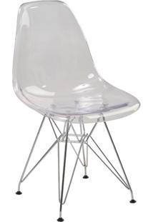 Cadeira Eiffel S/Br Pc Transparente Base Cromada Rivatti Móveis