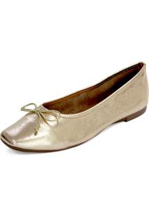 Sapatilha Couro Dali Shoes Bailarina Dourado