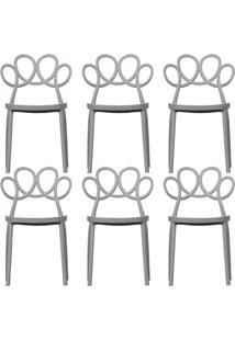 Kit 06 Cadeiras Decorativas Para Cozinha Laço Nude - Gran Belo