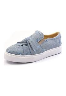 Sapatenis Casual Click Calçados Em Tecido Jeans Azul Torcido