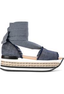 Hogan Sandália Flatform Jeans - Azul