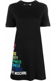 Love Moschino Vestido Reto Com Estampa De Logo - Preto