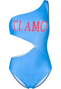 Alberta Ferretti Maiô Ombro Único - Azul