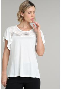 Blusa Feminina Com Recorte Manga Curta Decote Redondo Off White