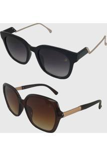 Kit 2 Oculos De Sol Feminino Volpz Quadrado Milão E Madrid Marrom - Kanui