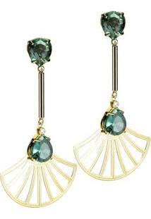 Brinco Banho De Ouro Cristal Oval E Arabesco Formato Leque - Feminino-Verde