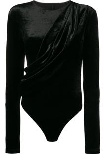 Unravel Project Body De Veludo Drapeado - Preto