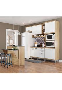 Cozinha Compacta Com Tampo 12 Portas 5844 Argila/Branco - Multimóveis