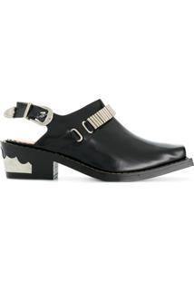 5cc75e8216 Farfetch. Sapato Bico Quadrado Alças Feminino Preto Couro Fivela Com Pulla  - De Toga