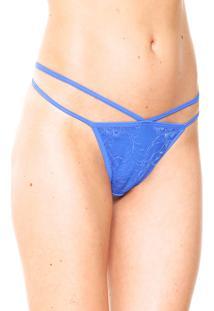 Calcinha Calvin Klein Underwear Fio Dental Renda Azul