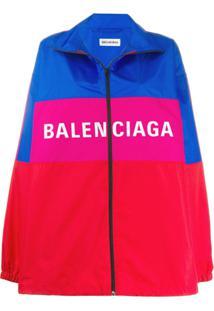 Balenciaga Jaqueta Com Zíper E Logo - Vermelho
