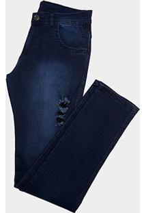 Calça Jeans Coffee Escura Rasgo Skinny Masculina - Masculino