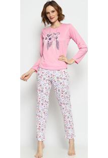 Pijama Corações & Penas- Rosa & Branco- Zulaizulai