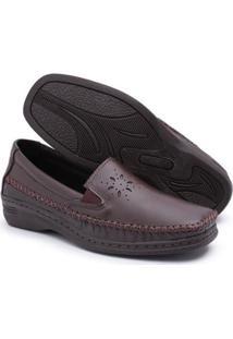 Sapato Comfort Pizaflex Feminino - Feminino-Café