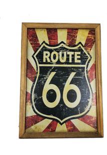 Quadro Decorativa Quarto Sala Route66 Azul E Vermelho - Amarelo - Dafiti