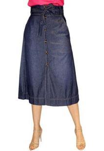 Saia Jeans Midi Sob Evasê Plus Size Cintura Alta Com Bolsos Feminina - Feminino