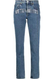 Vetements Calça Jeans Com Estampa De Logo - Azul