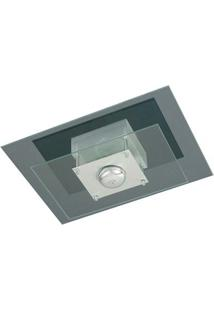Plafon Retangular Para 1 Lâmpada E27 Spacial Pmr 135 100W Vidro Preto Pantoja