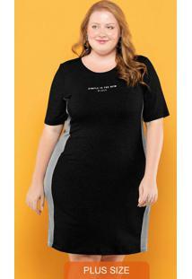 Vestido Plus Size Recortes Preto