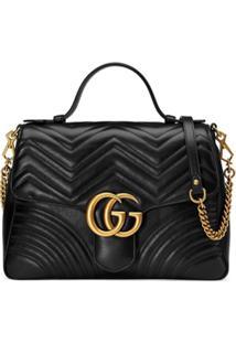 Gucci Bolsa Gg Marmont Média - Preto