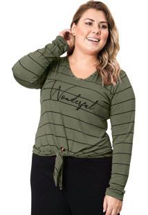 Blusa Feminina Plus Size Formitz Com Amarração Verde - P