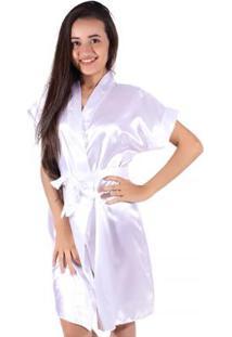 Robe Linha Noite De Cetim - Feminino-Branco