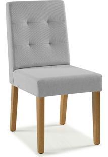 Cadeira De Madeira Moderna Estofada Lipy - Verniz Amendoa - Tec. 154B Cinza Claro - 45X50X90 Cm