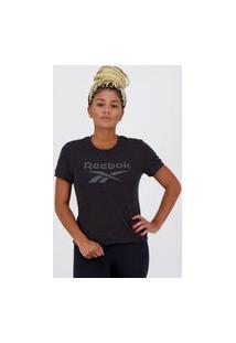 Camiseta Reebok Texture Logo Feminina Preta Mescla