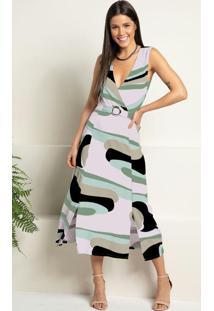 Vestido Abstrato Verde Transpassado Com Fendas