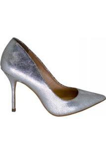 Scarpin Salto Alto Bico Fino Marjorie Feminino - Feminino-Prata