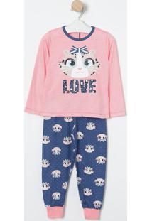 "Pijama ""Love""- Rosa & Azul- Puketpuket"