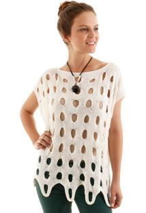 Blusa Tricot Ponto Vazado Off- White - Kanui