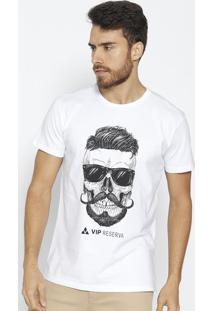 Camiseta Caveira- Branca & Preta- Vip Reservavip Reserva