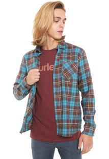 Camisa Hurley Reta Venice Azul/Marrom