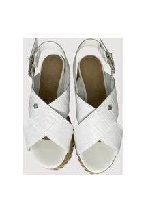 Sandália Casual Branca Cravo E Canela Multicolorido