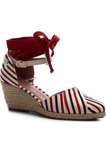 Sandália Anabela Shoestock Flatform Espadrille Tecido Navy Feminina - Feminino-Vermelho