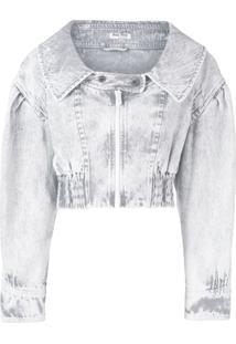 Miu Miu Jaqueta Jeans Cropped - Cinza