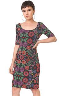 Vestido Desigual Curto Garden Preto/Vermelho - Kanui