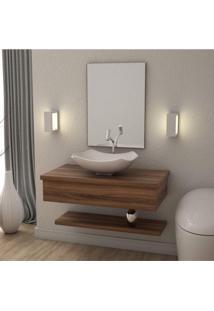 Conjunto Bancada Para Banheiro Com Cuba Abaulada L42 E Prateleira Metrópole 805W Compace Nogal