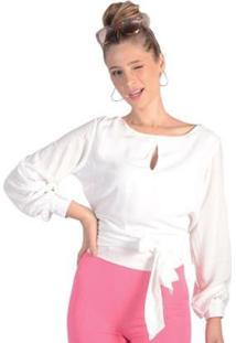 Blusa Crepe Amarração Punho Com Botões Pop Me Feminina - Feminino-Off White