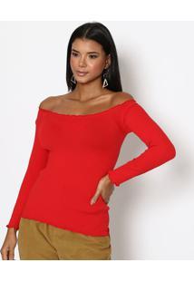 Blusa Ombro A Ombro Texturizada- Vermelhatrifil